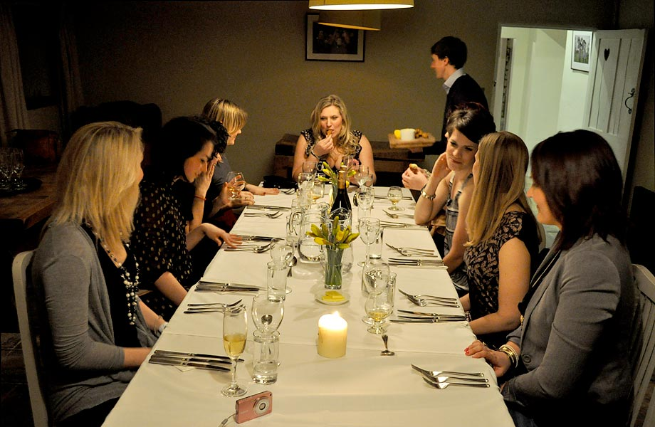 Hen do ideas - Evening meal at table